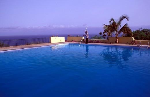 Sao Filipe, Hotel Xaguate, swimming pool , Fogo, Cape Verde, Africa : Stock Photo