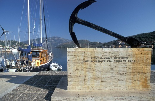 Vathy, monument for lost sailors Ithaki, Ionian Islands, Greece : Stock Photo