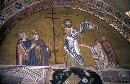 Central Greece, Moni Osiou Louka Resurrection, fresco detail on narthex : Stock Photo