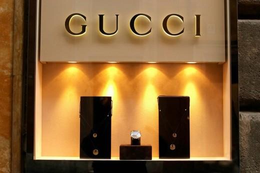 Window of the jewellery Gucci in Via Borgognona, Rome, Italy, Europe : Stock Photo
