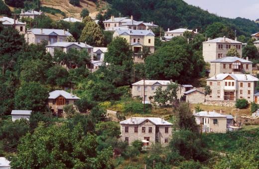 Stock Photo: 1844-7047 Houses, Nymfaio, Macedonia, Greece