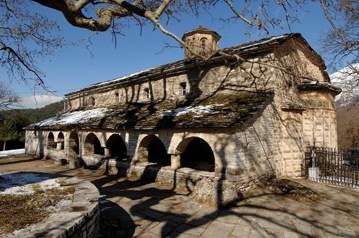 Stock Photo: 1844-7135 Snowy Mikro Papingo village. Mikro Papingo, Ioannina, Epiros, Greece, Europe