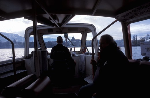 View from the crossover boat Geneva, Switzerland, Europe : Stock Photo