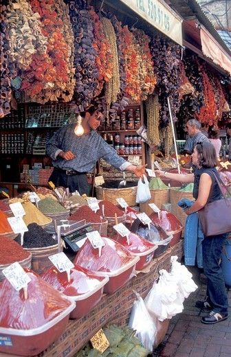 Shopping for spices at the market , Istanbul, Turkey, Middle East , : Stock Photo