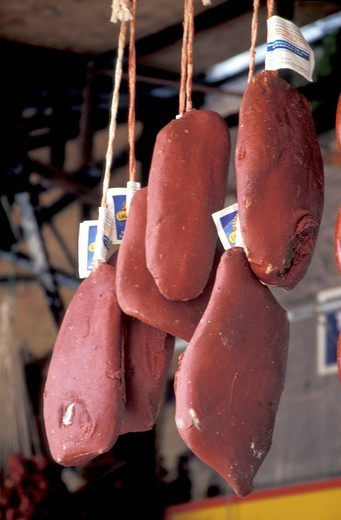 Pastirma pressed beef hanging for sale in a market , Istanbul, Turkey, Middle East , : Stock Photo