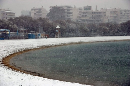 The snowy beach of Alimos, Athens, Attica, Greece, Europe : Stock Photo