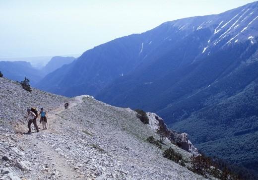 Trekkers at shelter Spilios Agapitos-Skala peak trek  , Mount Olympus, Macedonia Central, Greece : Stock Photo