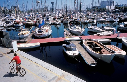 View of the port, sailing boats , Barcelona, Spain, Europe : Stock Photo