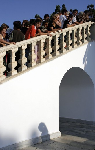 Devotees waiting on the steps to kiss the miraculous icon of the Virgin Mary  Tinos, Cyclades, Greece : Stock Photo
