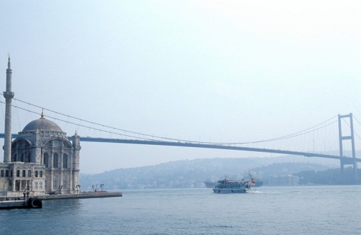 Stock Photo: 1844-9116 A view of Ataturk bridge on the Bosphorus , Istanbul, Turkey, Middle East ,