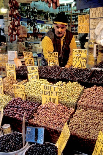Stock Photo: 1844-9125 Selling a variety of olives at the market , Istanbul, Turkey, Middle East ,