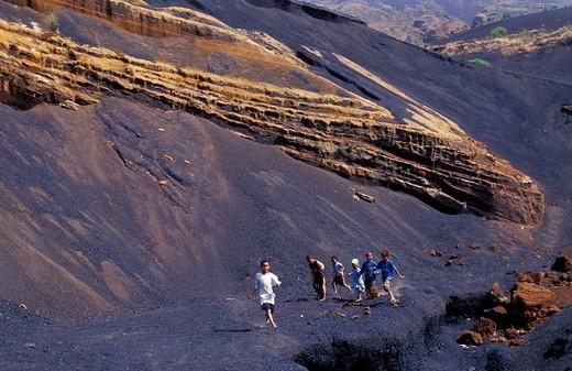 Stock Photo: 1844-9381 Mt Fogo, volcano, children doing excursion , Fogo, Cape Verde, Africa