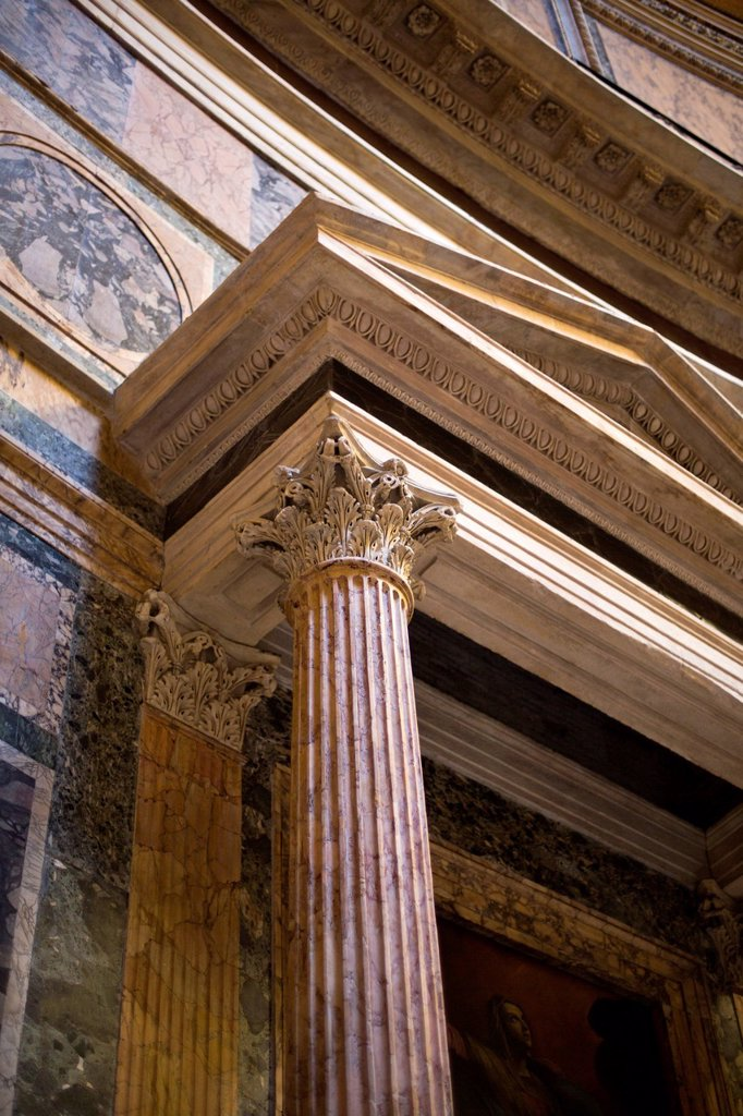 Stock Photo: 1845R-1013 Low angle view of Pantheon, Pantheon Rome, Lazio, Rome, Rome Province, Italy