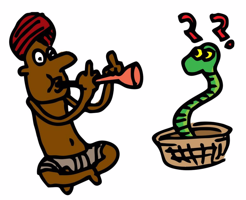 Stock Photo: 1845R-9065 Illustrative representation of a snake charmer
