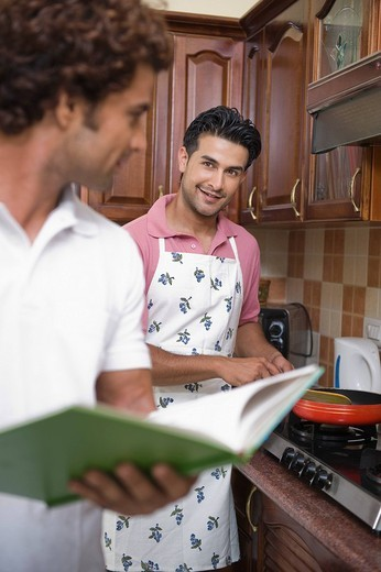 Gay couple preparing food in the kitchen : Stock Photo