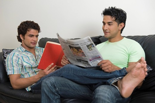 Stock Photo: 1846-10245 Gay couple reading a newspaper and a book