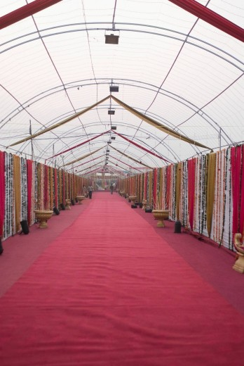 Decorated corridor of a wedding tent : Stock Photo