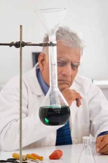 Scientist doing scientific experiment in a laboratory : Stock Photo