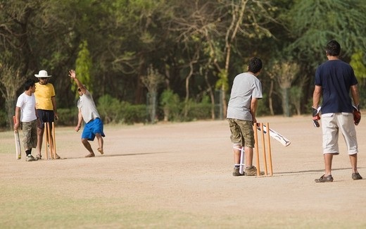 Boys playing cricket in a playground, New Delhi, India : Stock Photo