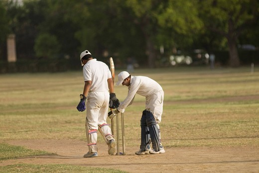 Men playing cricket in a playground, New Delhi, India : Stock Photo
