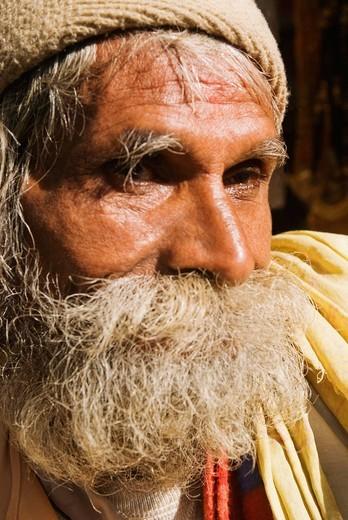 Close_up of a man thinking, Haridwar, Uttarakhand, India : Stock Photo