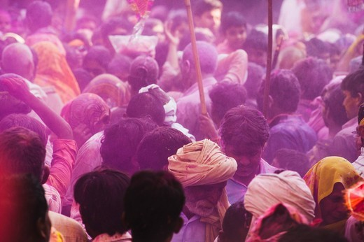 Stock Photo: 1846-12213 People celebrating Holi festival, Barsana, Uttar Pradesh, India