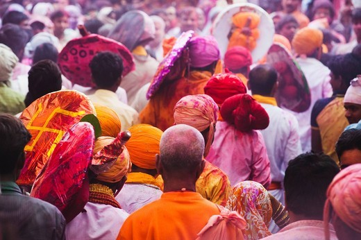 People celebrating Holi festival, Barsana, Uttar Pradesh, India : Stock Photo