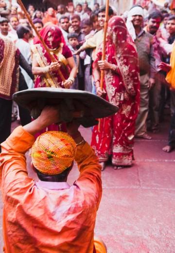Stock Photo: 1846-12231 People celebrating ´Lath Maar Holi´ festival, Barsana, Uttar Pradesh India