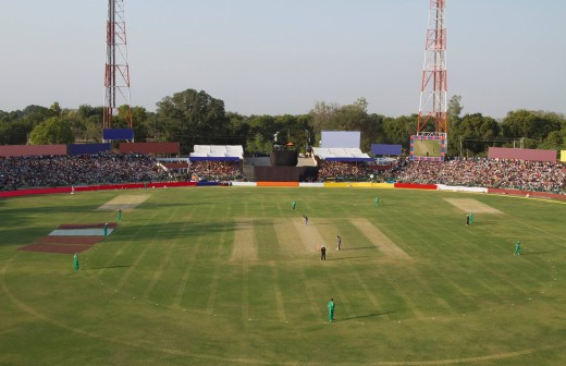Stock Photo: 1846-12266 High angle view of a cricket match in progress, Captain Roop Singh Stadium, Gwalior, Madhya Pradesh, India