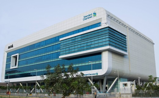 Low angle view of a bank, DLF Cyber Greens, DLF Cyber City, Gurgaon, Haryana, India : Stock Photo