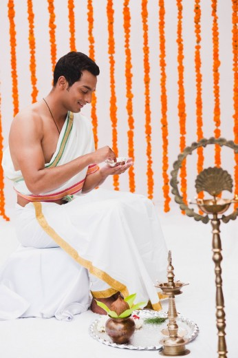 Bridegroom in traditional South Indian dress : Stock Photo