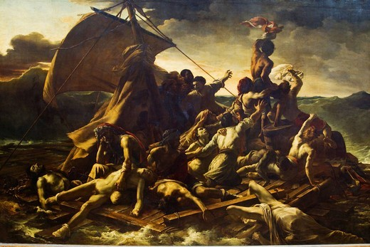 Painting of The Raft Of The Medusa in a museum, Musee Du Louvre, Paris, France : Stock Photo