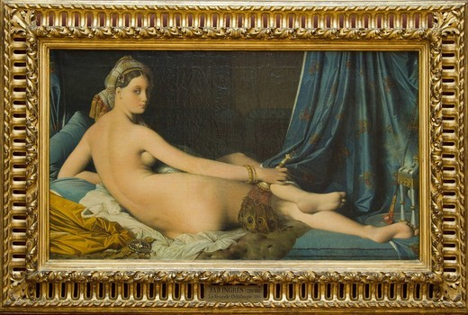 Painting of a La Grand Odalisque in a museum, Musee Du Louvre, Paris, France : Stock Photo