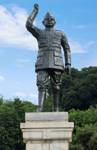 Low angle view of a statue of Subhas Chandra Bose, Bangalore, Karnataka, India : Stock Photo