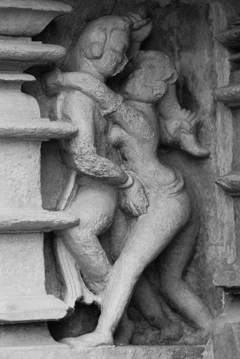 Stock Photo: 1846-13733 Sculptures detail of a temple, Khajuraho, Chhatarpur District, Madhya Pradesh, India