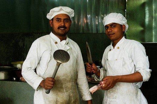 Stock Photo: 1846-13817 Chef cooking in a restaurant, New Delhi, India