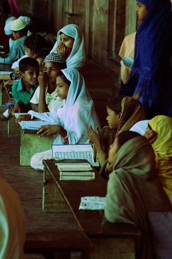Students studying in madrasa, Agra, Uttar Pradesh, India : Stock Photo
