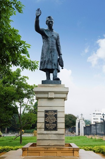 Low angle view of a statue, Jawaharlal Nehru statue, Bangalore, Karnataka, India : Stock Photo