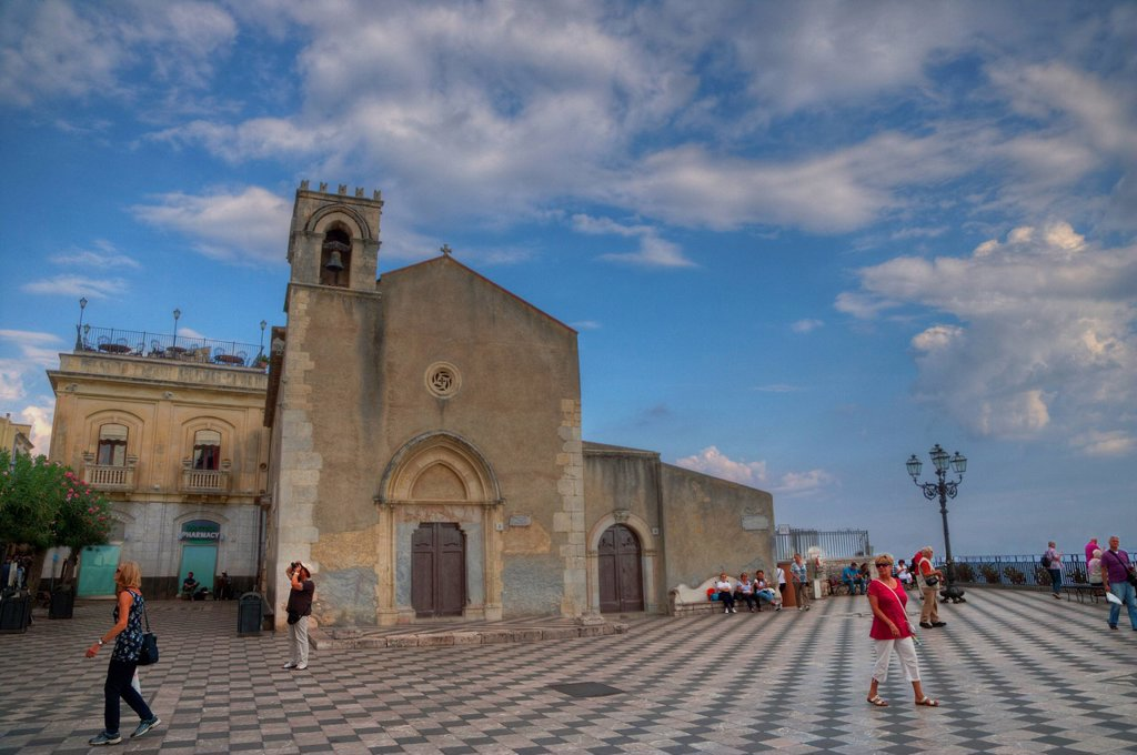 Stock Photo: 1846-15621 Facade of a church, San Giuseppe Church, Taormina, Sicily, Italy