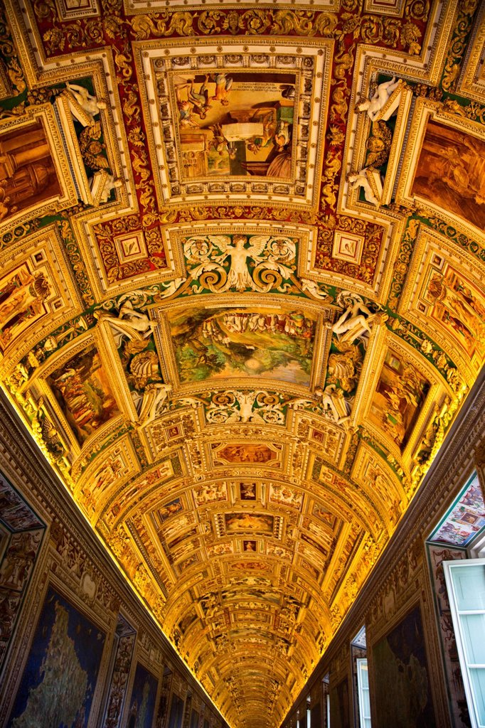 Ceiling of the Gallery of Maps, Vatican Museums, Vatican City, Rome, Lazio, Italy : Stock Photo
