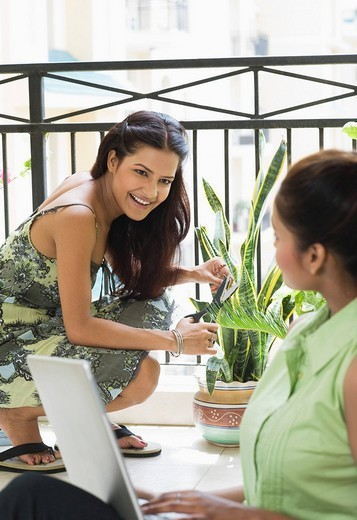 Woman using a laptop with her girlfriend gardening in the balcony : Stock Photo