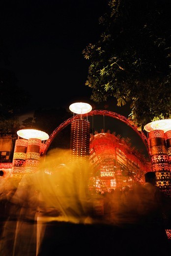 Stock Photo: 1846-2960 Pandal lit up at night for Durga puja festival, Kolkata, West Bengal, India