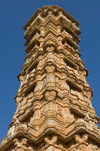 Low angle view of a tower, Vijay Stambha, Chittorgarh Fort, Chittorgarh, Rajasthan, India : Stock Photo