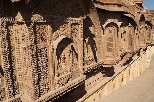 Carving on the wall of a fort, Mehrangarh Fort, Jodhpur, Rajasthan, India : Stock Photo