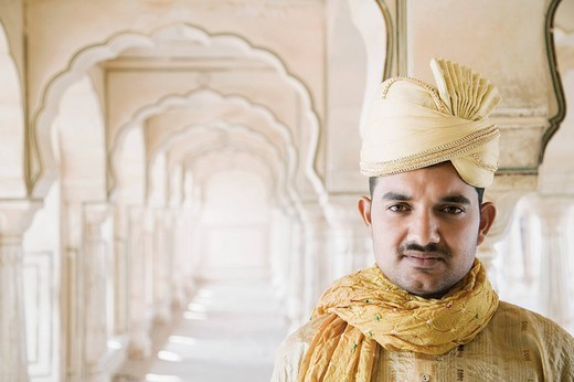 Stock Photo: 1846-3841 Portrait of a man, Amber Fort, Jaipur, Rajasthan, India