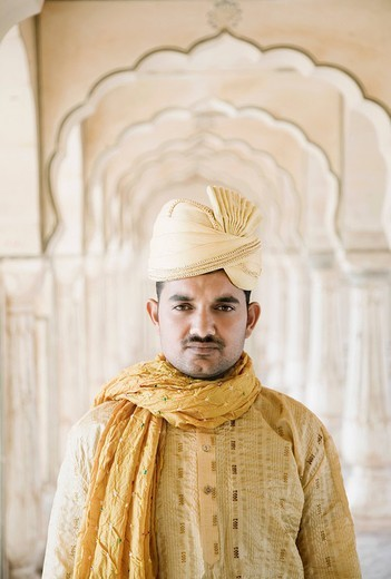 Portrait of a man, Amber Fort, Jaipur, Rajasthan, India : Stock Photo