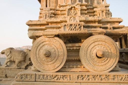 Stock Photo: 1846-4170 Carving on Stone Chariot, Vitthala Temple, Hampi, Karnataka, India