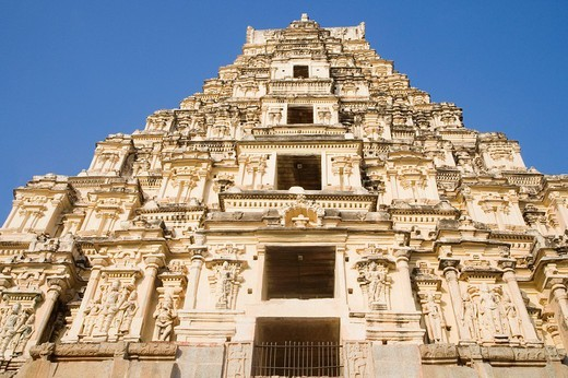 Low angle view of a temple, Virupaksha Temple, Hampi, Karnataka, India : Stock Photo