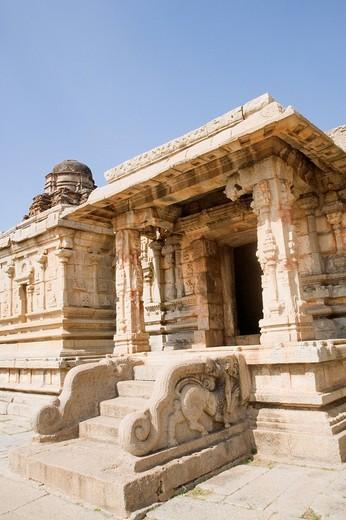 Stock Photo: 1846-4256 Entrance of a temple, Krishna Temple, Hampi, Karnataka, India