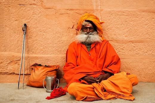 Close_up of a sadhu, Varanasi, Uttar Pradesh, India : Stock Photo